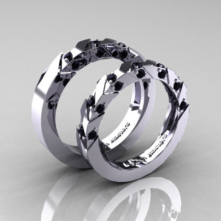 Modern Italian 14K White Gold Black Diamond Wedding Band Set R310BS-14KWGBD-1