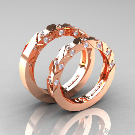 Modern Italian 14K Rose Gold Diamond Wedding Band Set R310BS-14KRGD-1