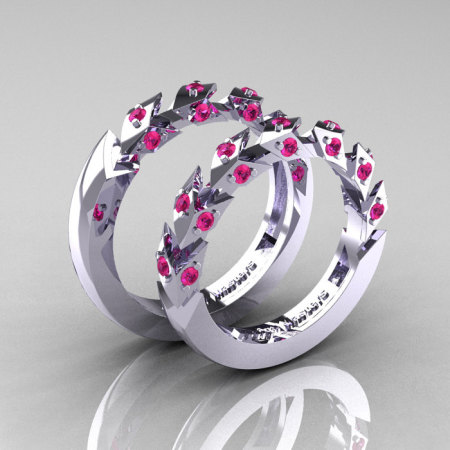 Modern Italian 14K White Gold Pink Sapphire Wedding Band Set R320BS-14KWGPS-1