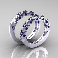 Modern Italian 14K White Gold Blue Sapphire Wedding Band Set R320BS-14KWGBS-1