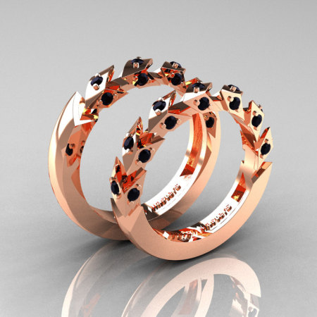 Modern Italian 14K Rose Gold Black Diamond Wedding Band Set R320BS-14KRGBD-1