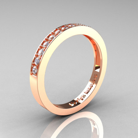 Classic 14K Rose Gold Preset Diamond Wedding Band R332-14KRGD-1
