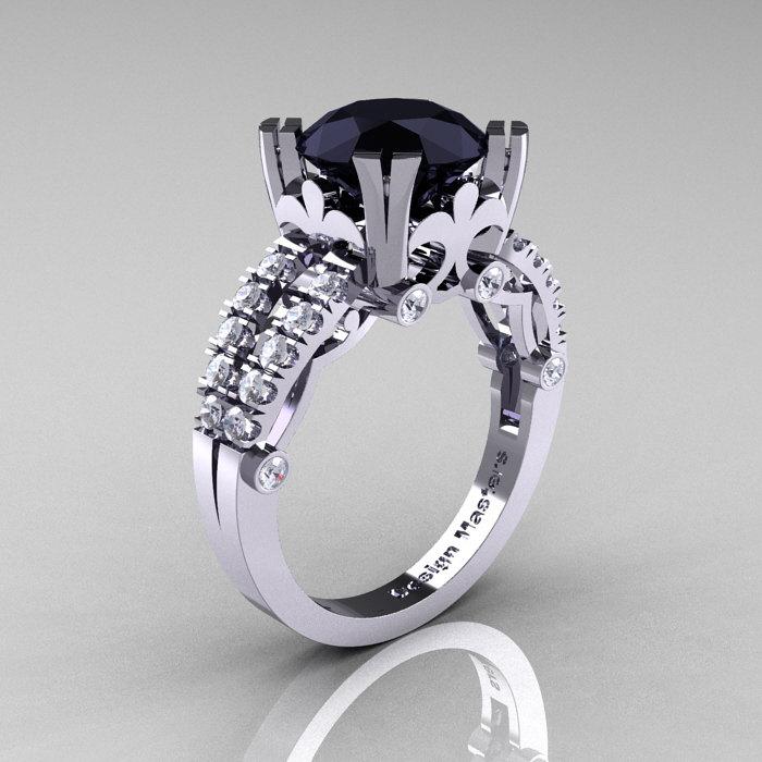 Modern Vintage 14K White Gold 3 0 Carat Black Diamond Solitaire Ring R333 14K