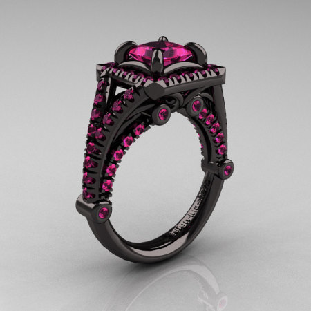 Modern Art Nouveau 14K Black Gold 1.23 Carat Princess Pink Sapphire Engagement Ring Wedding Ring R336-14KBGPS-1