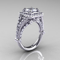 Modern Art Nouveau 14K White Gold 1.23 Carat Princess Russian CZ and White Diamond Engagement Ring Wedding Ring R336-14KWGDCZ-1