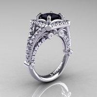 Modern Art Nouveau 14K White Gold 1.23 Carat Princess Black and White Diamond Engagement Ring Wedding Ring R336-14KWGDBD-1
