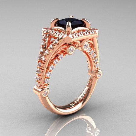 Modern Art Nouveau 14K Rose Gold 1.23 Carat Princess Black and White Diamond Engagement Ring Wedding Ring R336-14KRGDBD-1