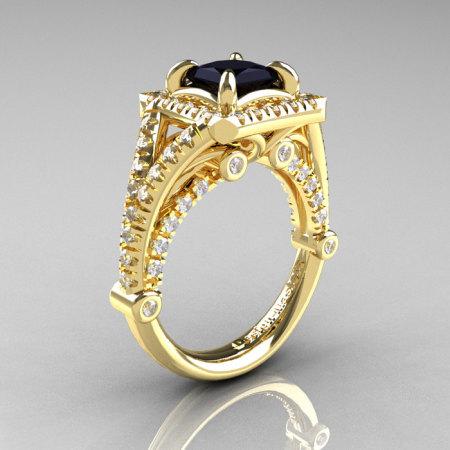 Modern Art Nouveau 14K Yellow Gold 1.23 Carat Princess Black and White Diamond Engagement Ring Wedding Ring R336-14KYGDBD-1