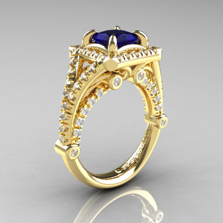 Modern Art Nouveau 14K Yellow Gold 1.23 Carat Princess Blue Sapphire Diamond Engagement Ring Wedding Ring R336-14KYGDBS-1