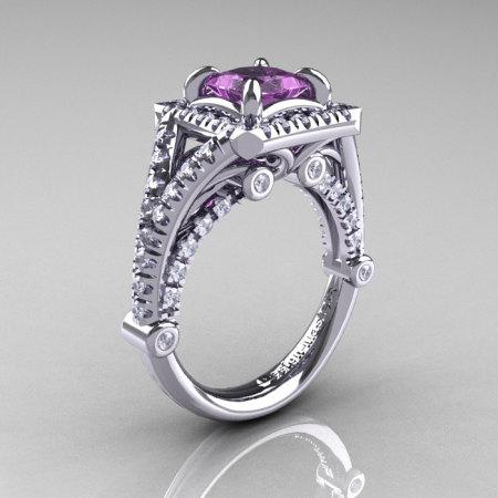 Modern Art Nouveau 14K White Gold 1.23 Carat Princess Lilac Amethyst Diamond Engagement Ring Wedding Ring R336-14KWGDLA-1