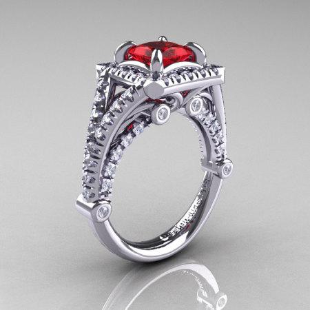 Modern Art Nouveau 14K White Gold 1.23 Carat Princess Rubies Diamond Engagement Ring Wedding Ring R336-14KWGDR-1