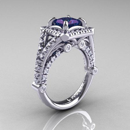 Modern Art Nouveau 14K White Gold 1.23 Carat Princess Alexandrite Diamond Engagement Ring Wedding Ring R336-14KWGDAL-1
