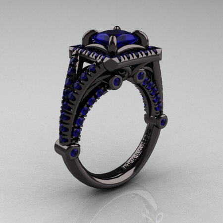 Modern Art Nouveau 14K Black Gold 1.23 Carat Princess Blue Sapphire Engagement Ring Wedding Ring R336-14KBGBS-1