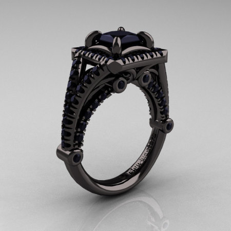 Modern Art Nouveau 14K Black Gold 1.23 Carat Princess Black Diamond Engagement Ring Wedding Ring R336-14KBGBD-1