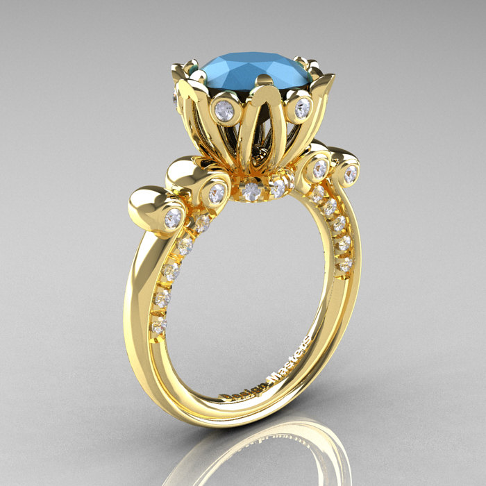 French Antique 14k Yellow Gold 3 0 Carat Sleeping Beauty Turquoise Diamond Solitaire Wedding Ring Y235