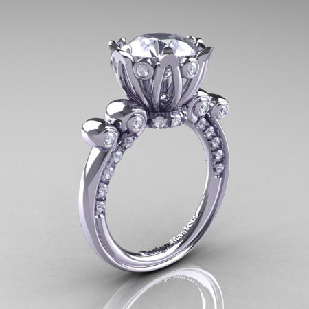 French Antique 14K White Gold 3.0 Carat CZ Diamond Solitaire Wedding Ring Y235-14KWGDCZ-1