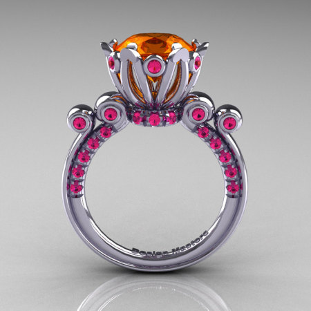 French Antique 14K White Gold 3.0 Carat Orange and Pink Sapphire Solitaire Wedding Ring Y235-14KWGPOS-1