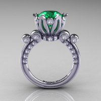 French Antique 14K White Gold 3.0 Carat Emerald Diamond Solitaire Wedding Ring Y235-14KWGDEM-1
