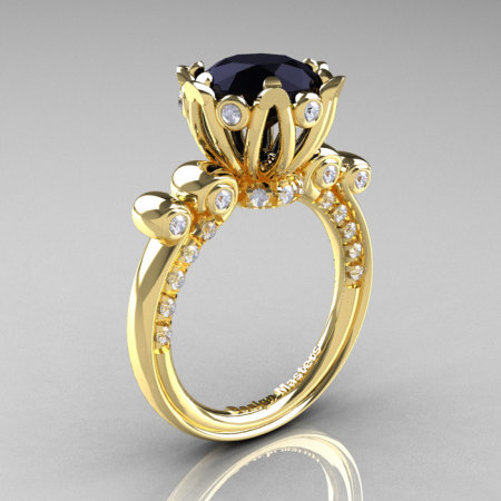 French Antique 14K Yellow Gold 3.0 CT Black and White Diamond Solitaire Wedding Ring Y235-14KYGDBD-1