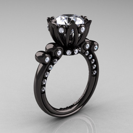 French Antique 14K Black Gold 3.0 Carat CZ Diamond Solitaire Wedding Ring Y235-14KBGDCZ-1