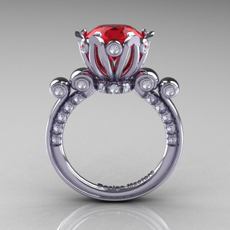French Antique 14K White Gold 3.0 Carat Rubies Diamond Solitaire Wedding Ring Y235-14KWGDR-1