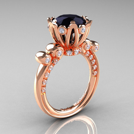 French Antique 14K Rose Gold 3.0 CT Black and White Diamond Solitaire Wedding Ring Y235-14KRGDBD-1
