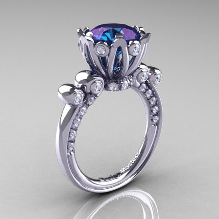 French Antique 14K White Gold 3.0 CT Alexandrite Diamond Solitaire Wedding Ring Y235-14KWGDAL-1