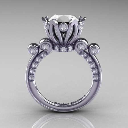 French Antique 14K White Gold 3.0 Carat White Agate Diamond Solitaire Wedding Ring Y235-14KWGDWA-1