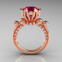 French Antique 14K Rose Gold 3.0 CT Red Garnet Diamond Solitaire Wedding Ring Y235-14KRGDRG-1