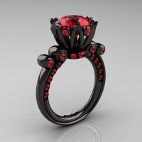 French Antique 14K Black Gold 3.0 Carat Rubies Diamond Solitaire Wedding Ring Y235-14KBGR-1