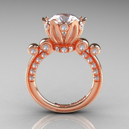 French Antique 14K Rose Gold 3.0 Carat White Sapphire Diamond Solitaire Wedding Ring Y235-14KRGDWS-1