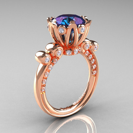 French Antique 14K Rose Gold 3.0 CT Alexandrite Diamond Solitaire Wedding Ring Y235-14KRGDAL-1