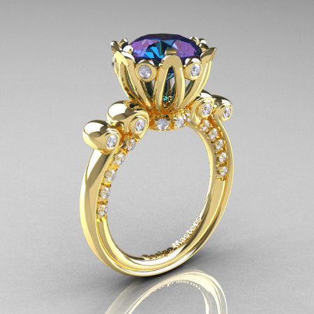French Antique 14K Yellow Gold 3.0 CT Alexandrite Diamond Solitaire Wedding Ring Y235-14KYGDAL-1