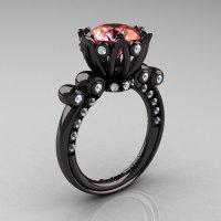 French Antique 14K Black Gold 3.0 Carat Peach Topaz Diamond Solitaire Wedding Ring Y235-14KBGDPO-1