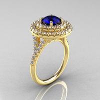 Classic Soleste 14K Yelow Gold 1.0 Ct Blue Sapphire Diamond Ring R236-14YGDBS-1
