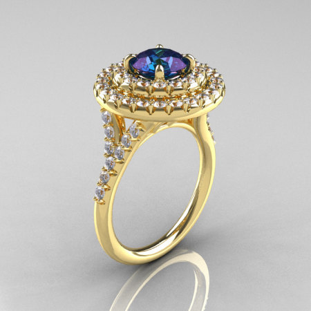 Classic Soleste 14K Yelow Gold 1.0 Ct Chrysoberyl Alexandrite Diamond Ring R236-14YGDAL-1