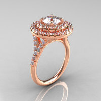 Classic Soleste 14K Rose Gold 1.0 Ct White Sapphire Diamond Ring R236-14RGDWS-1