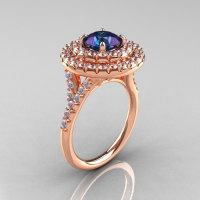 Classic Soleste 14K Rose Gold 1.0 Ct Chrysoberyl Alexandrite Diamond Ring R236-14RGDAL-1