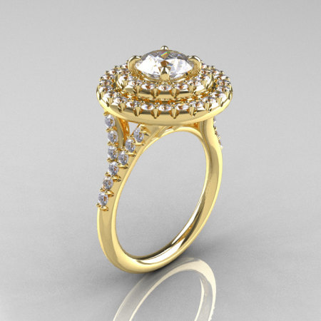 Classic Soleste 14K Yellow Gold 1.0 Ct Russian CZ Diamond Ring R236-14YGDCZ-1