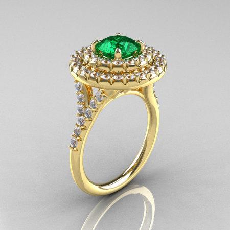 Classic Soleste 14K Yelow Gold 1.0 Ct Emerald Diamond Ring R236-14YGDEM-1