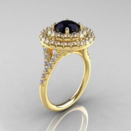 Classic Soleste 14K Yelow Gold 1.0 Ct Black Diamond Ring R236-14YGDBD-1