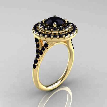 Classic Soleste 14K Yelow Gold 1.0 Ct Black Diamond Ring R236-14YGBD-1