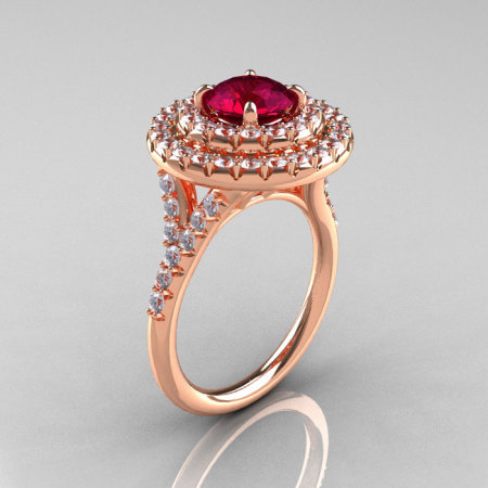 Classic Soleste 14K Rose Gold 1.0 Ct Garnet Diamond Ring R236-14RGDG-1