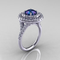 Classic Soleste14K White Gold 1.0 Ct Chrysoberyl Alexandrite Diamond Ring R236-14KWGDAL-1