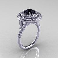 Classic Soleste 14K White Gold 1.0 Ct Black Diamond Ring R236-14KWGDBD-1