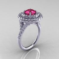 Classic Soleste 14K White Gold 1.0 Ct Tourmaline Diamond Ring R236-14KWGDT-1