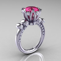 French Antique 14K White Gold 3.0 Carat Tourmaline Diamond Solitaire Wedding Ring Y235-14KWGDT-1