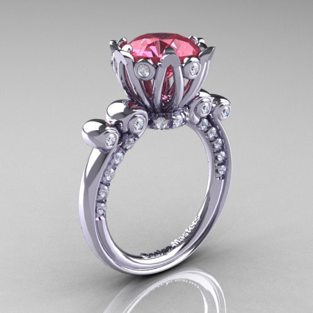 French Antique 14K White Gold 3.0 Carat Light Tourmaline Diamond Solitaire Wedding Ring Y235-14KWGDLT-1