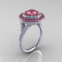 Classic Soleste 14K White Gold 1.0 Ct Light Tourmaline Diamond Ring R236A-14KWGDLT-1