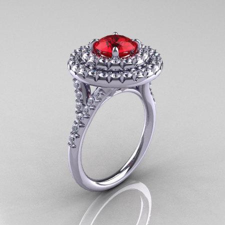 Classic Soleste 14K White Gold 1.0 Ct Ruby Diamond Ring R236-14KWGDR-1